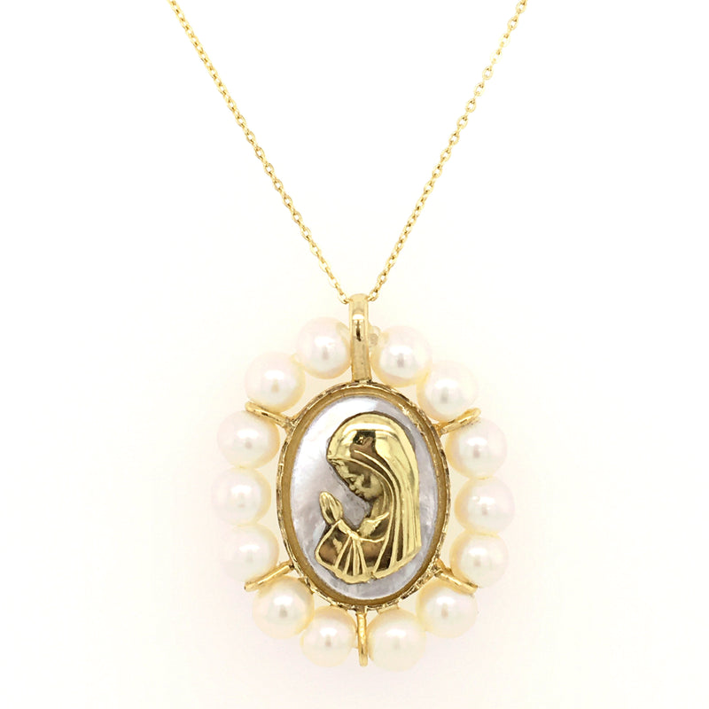Mother of Pearl Gold Praying Virgin Medal with Pearl Frame 14K Yellow Gold
