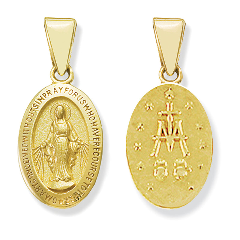 Miraculous Medal 12x8mm 14KY Gold