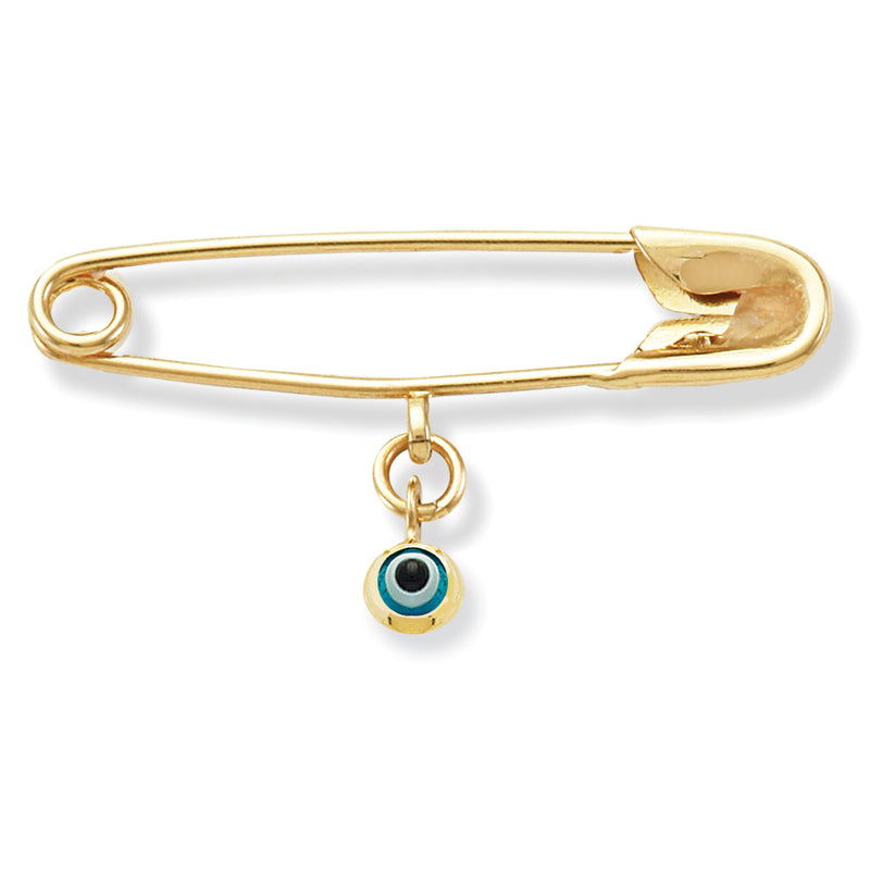 Baby Pin with Blue Evil Eye Charm 14KY Gold