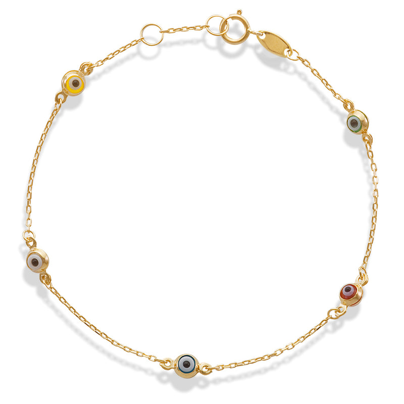 Multicolored Evil Eye Beaded ID Bracelet 14K Yellow Gold