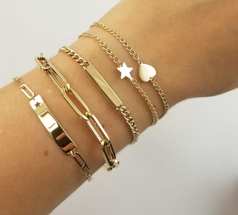 Paper Clip Bracelet 14K Yellow Gold (Back in Stock!)