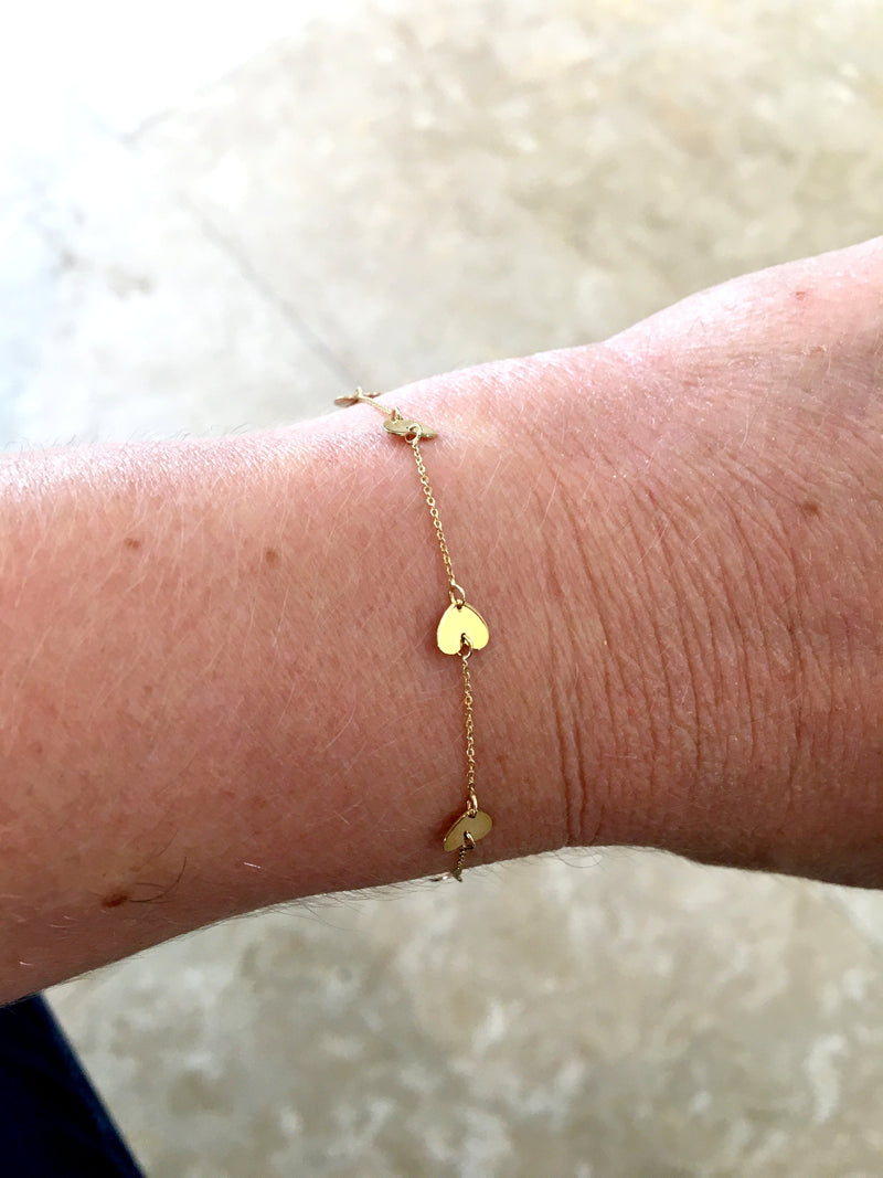 Multi Heart Bracelet 14K Yellow Gold
