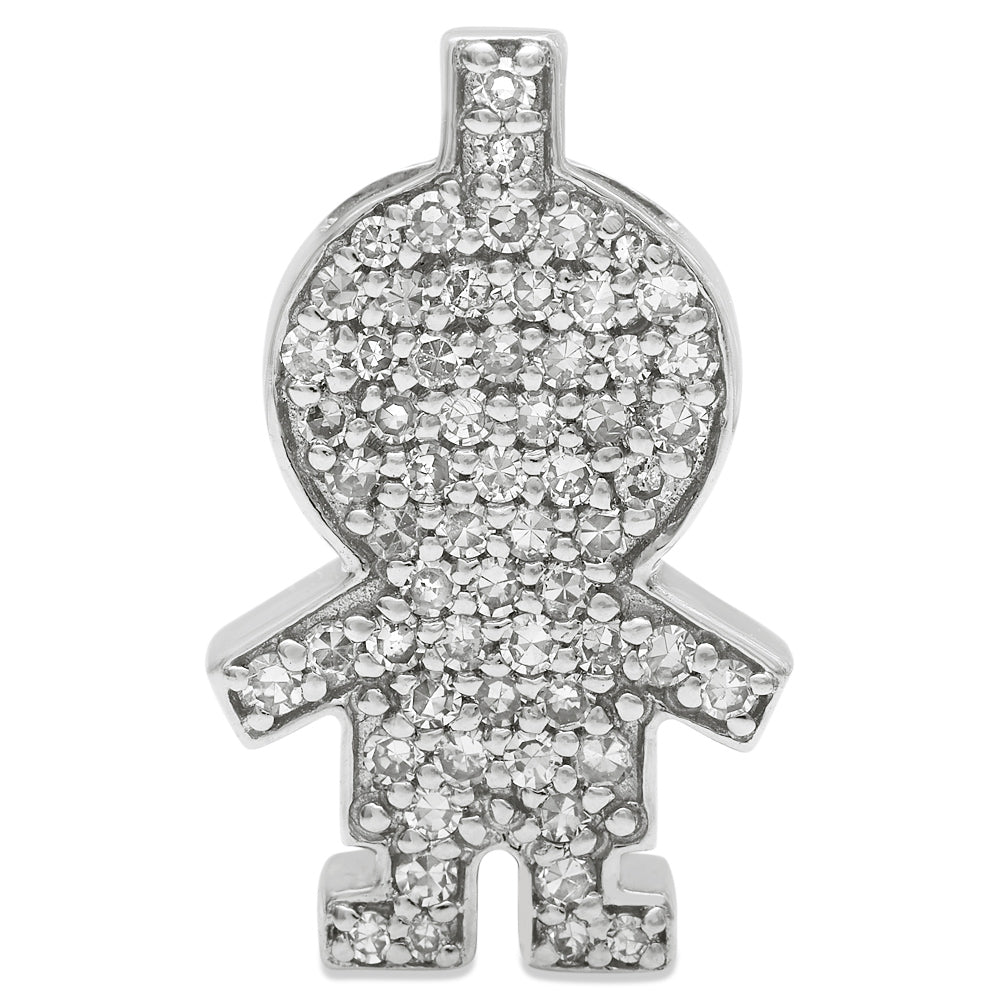 White Gold Diamond Boy Pendant 14KG-16mm