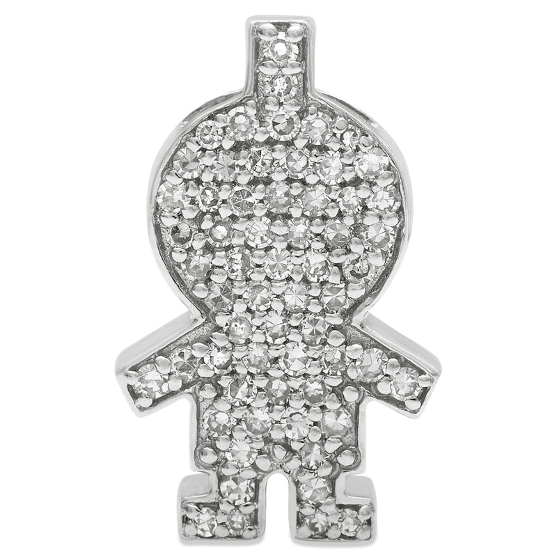 White Gold Diamond Girl Pendant 14KG-16mm