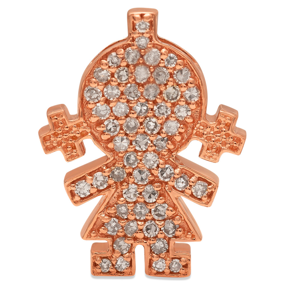 Rose Gold Diamond Girl Pendant 14KG-16mm