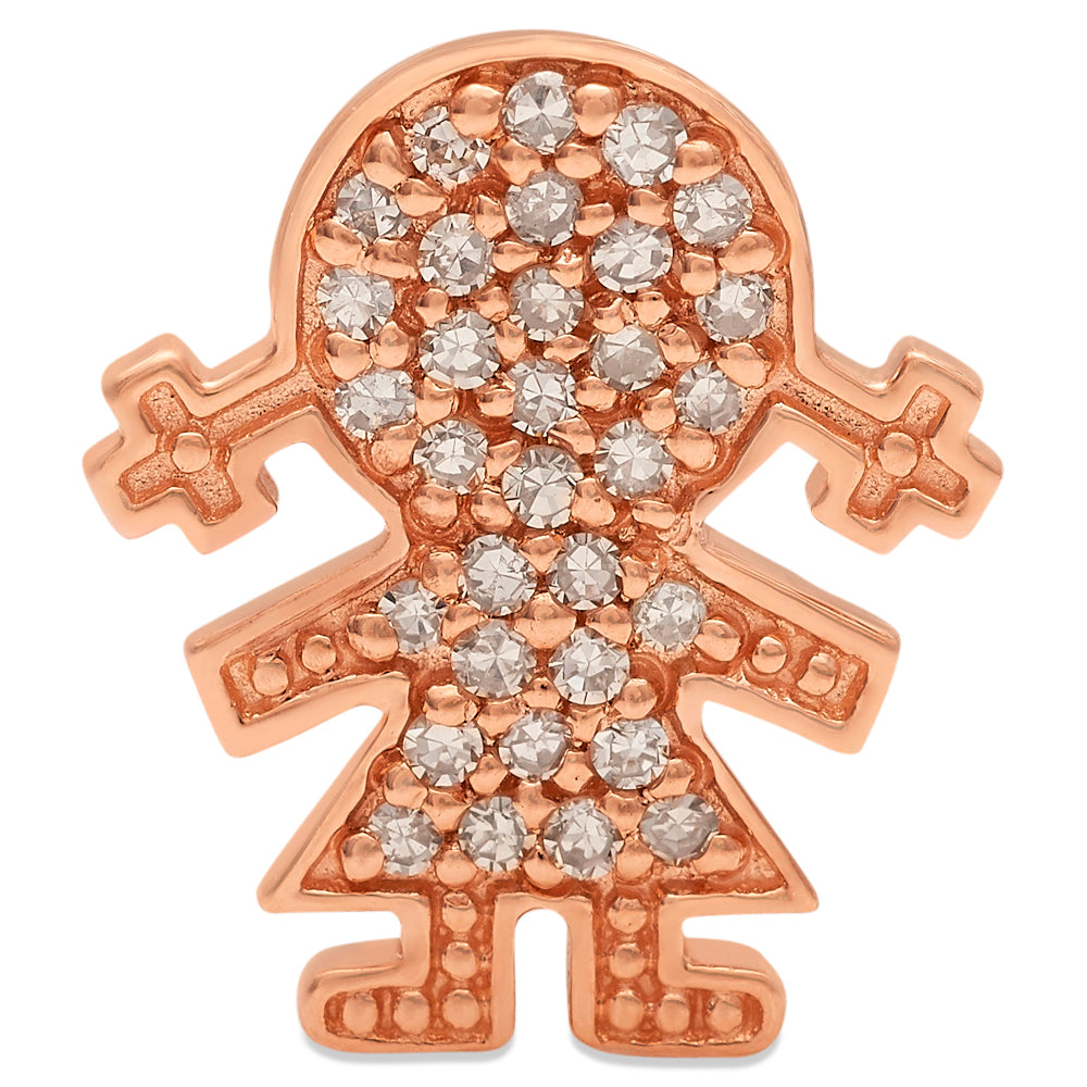 Rose Gold Diamond Girl Pendant 14KG-12mm