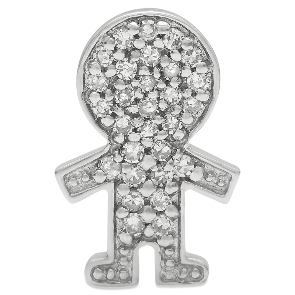 White Gold Diamond Boy Pendant 14KG-12mm