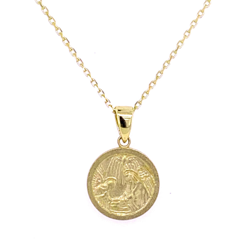 Baptismal Guardian Angel Medal (12.0mm) 14K Yellow Gold