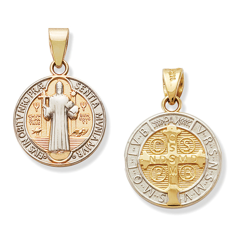 Round Mother of Pearl Miraculous Medal 18MM 14K Yellow Gold