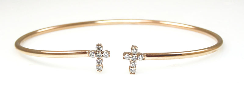Diamond Cross Bangle 14K Gold