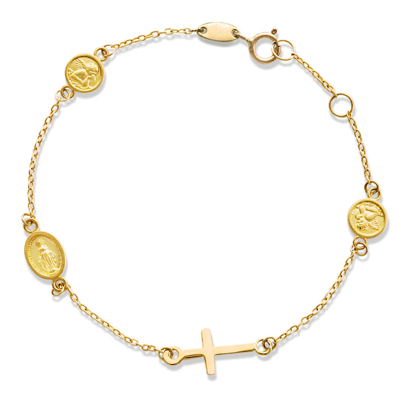Religious Bracelet with Miraculous, Cross and Angel 14KY Gold
