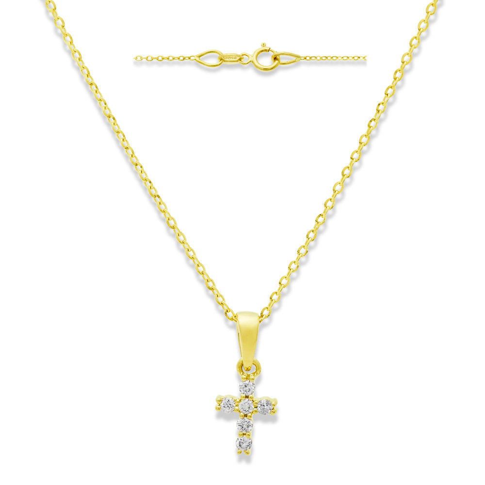 Miniature Diamond Cross Necklace 14 Yellow Gold