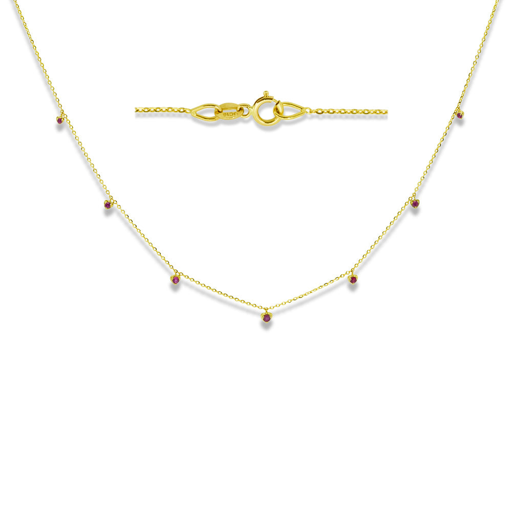 Red Ruby Dew Drop Necklace 14K Yellow Gold