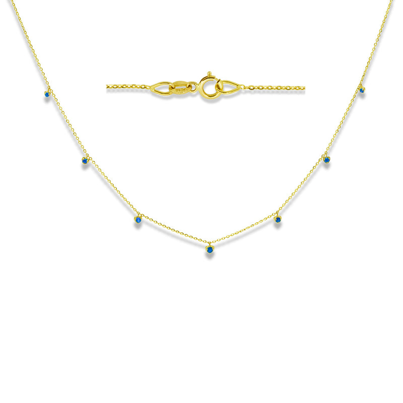 Blue Sapphire Dew Drop Necklace 14K Yellow Gold
