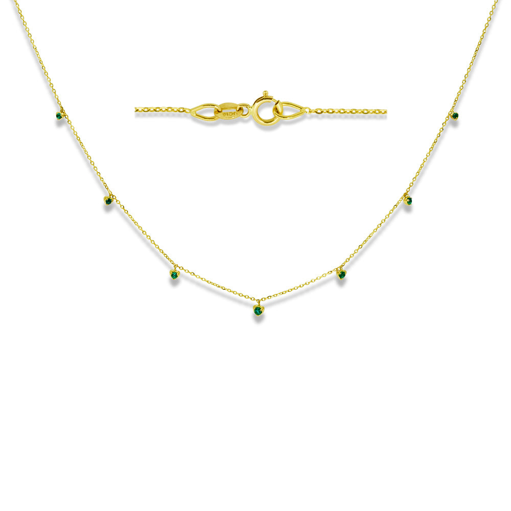 Green Emerald Dew Drop Necklace 14K Yellow Gold
