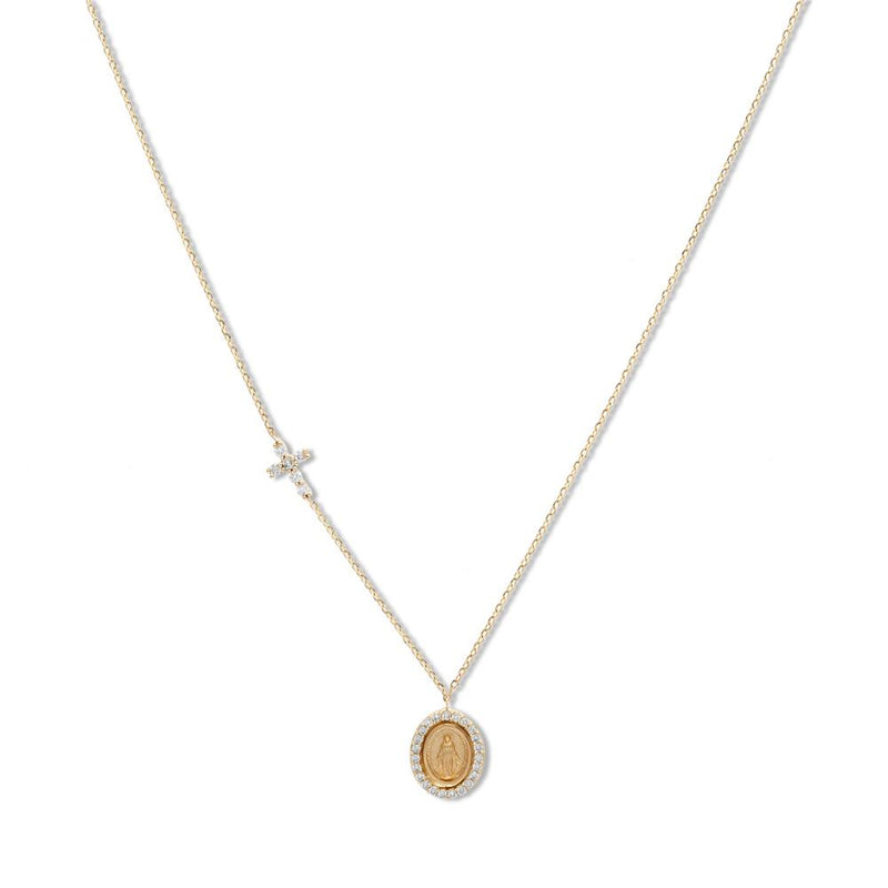 Yellow Gold Miniature Miraculous Medal Diamond Necklace