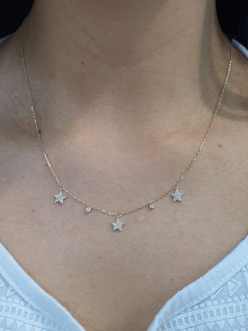 Dangling Diamond Pave Stars & Diamond Bezels Choker Necklace 14K Yellow Gold