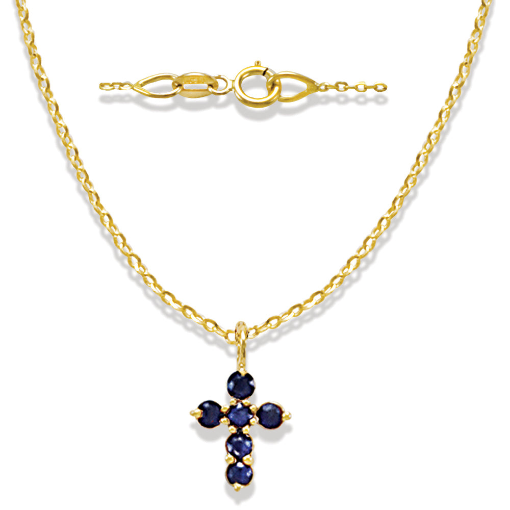 Blue Sapphire Miniature Cross in 14K Yellow Gold