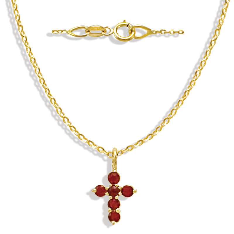 Red Ruby Miniature Cross in 14K Yellow Gold