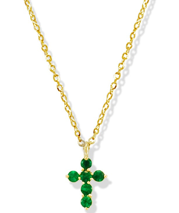 Green Emerald Miniature Cross in 14K Yellow Gold