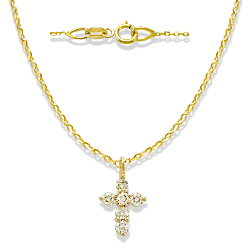 Miniature Diamond Cross in Solid 14K Yellow Gold