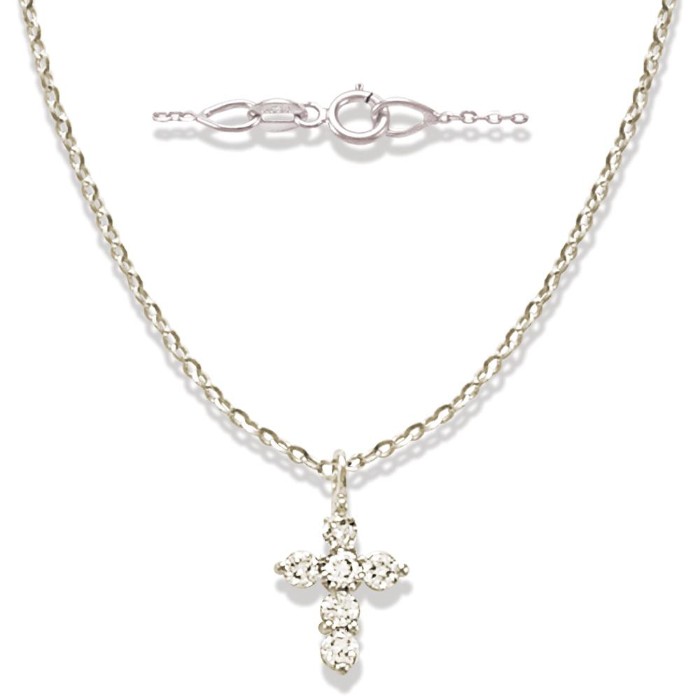 Miniature Diamond Cross in Solid 14K White Gold