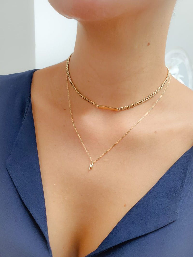 Miniature Lightning Bolt Necklace 14KY Gold (Back In Stock!!)