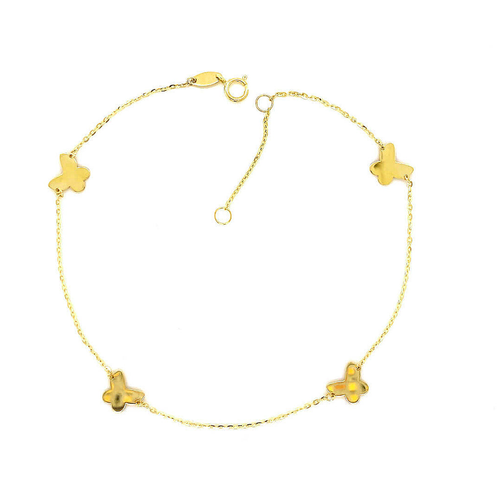 Butterfly Station Anklet Bracelet 14K Yellow Gold (Only a Few Left!)