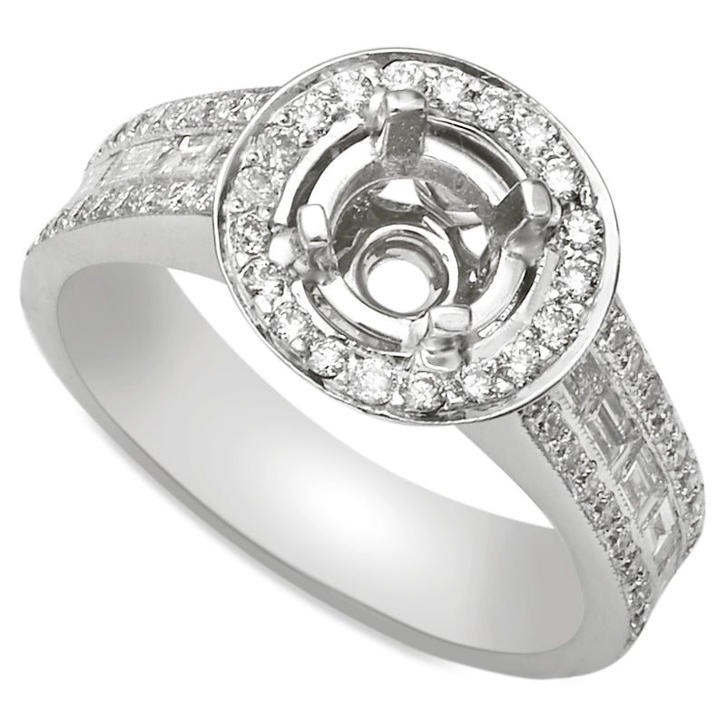 18K White Gold Round Halo Diamond Baguette Engagement Ring
