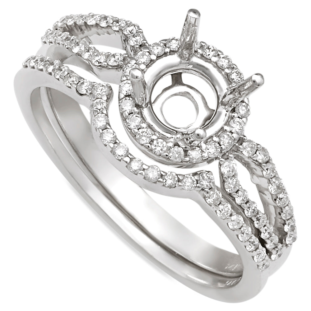 14K White Gold Halo Split Shank Diamond Engagement Ring with Matching Shadow Band