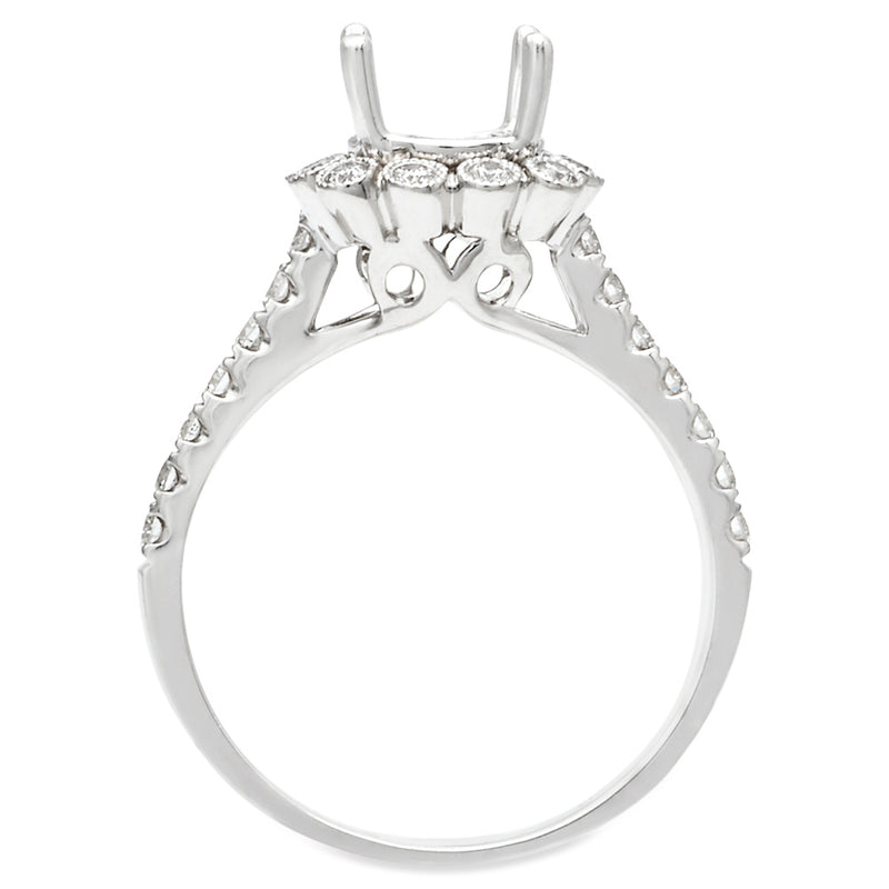18K White Gold Vintage Cushion Halo Cathedral Diamond Engagement Ring