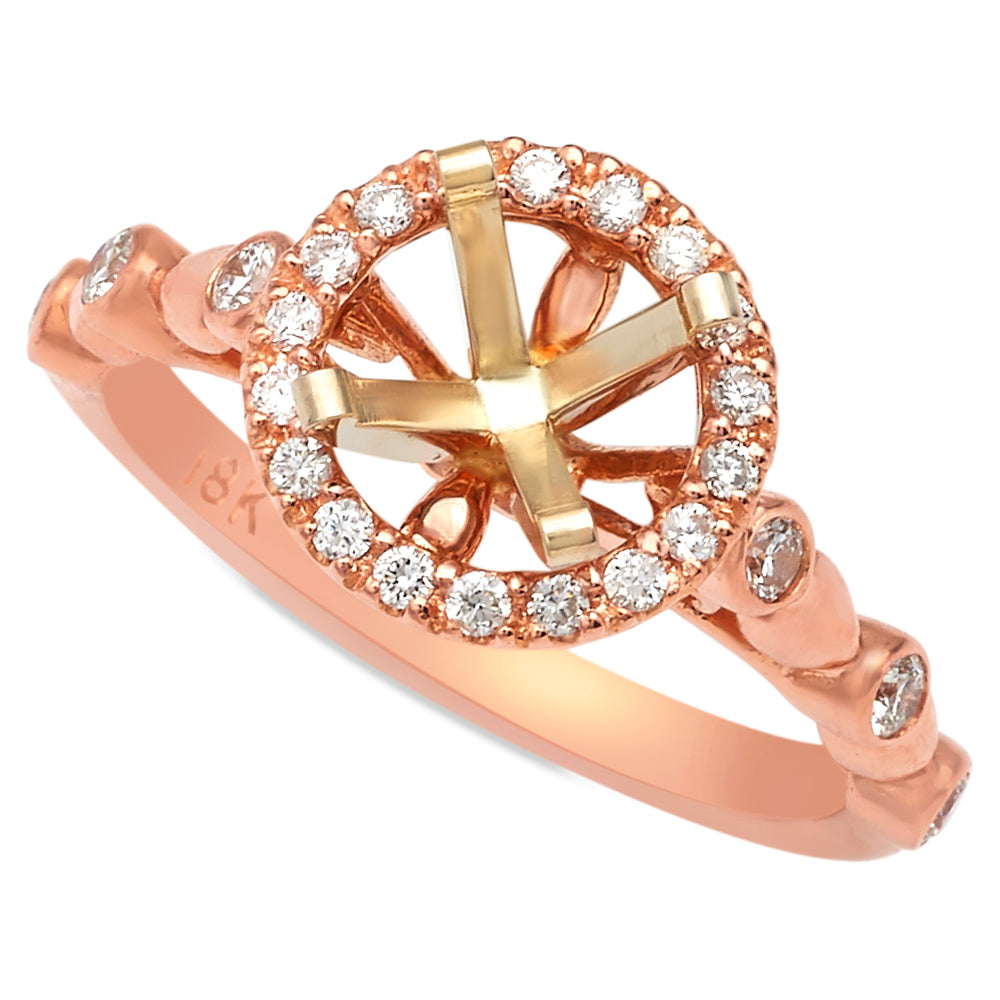 18 Karat Rose Gold Diamond Halo Semi-Mount Engagement Ring