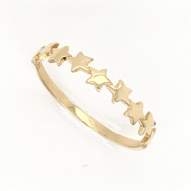 14K Yellow Gold Multiple Miniature Stars Stackable Ring