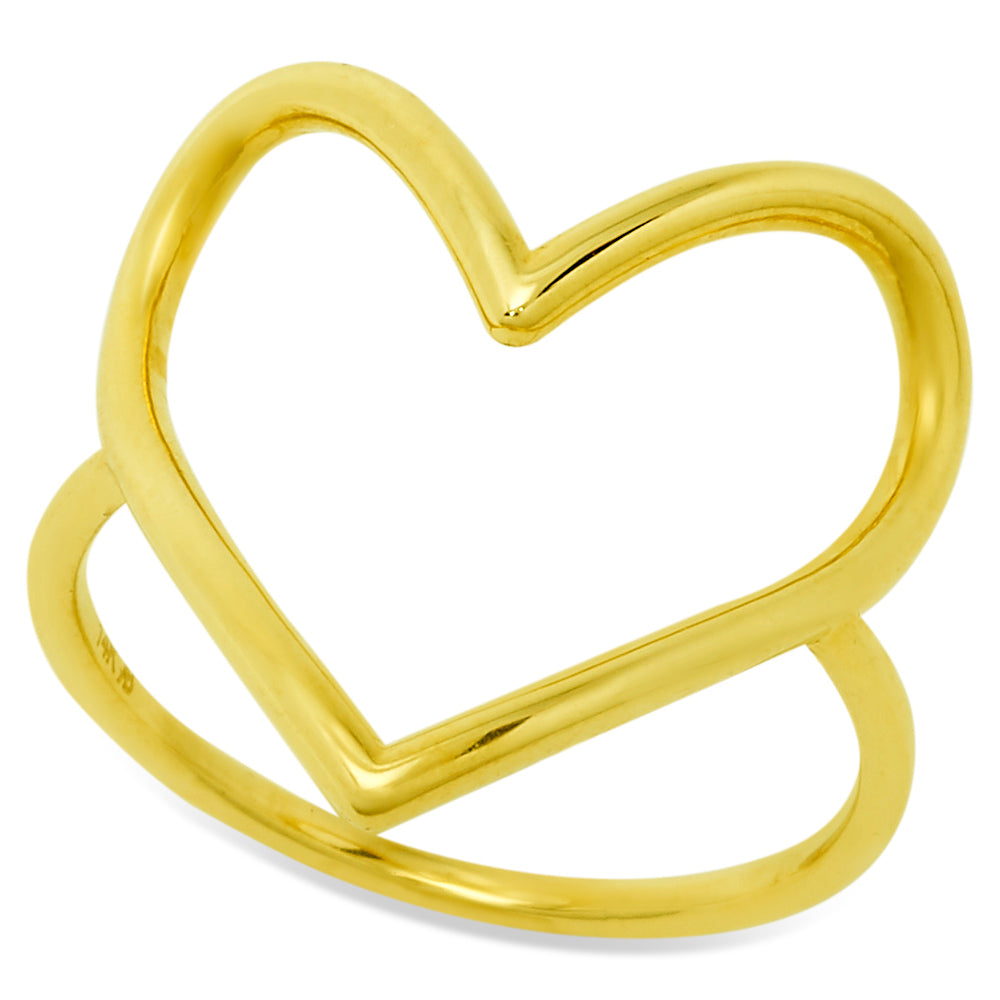 Open Heart Ring crafted 14K Yellow Gold