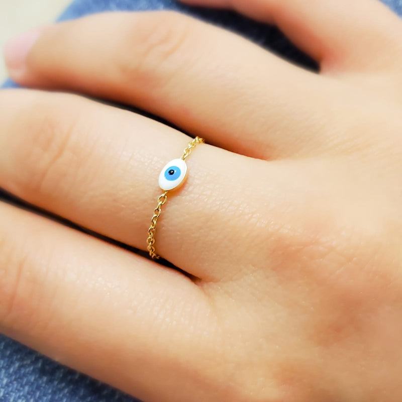 Enameled Evil Eye Chain Ring 14K Yellow Gold