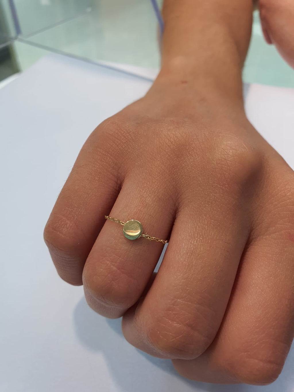 Single Circle Disc Chain Ring 14K Yellow Gold