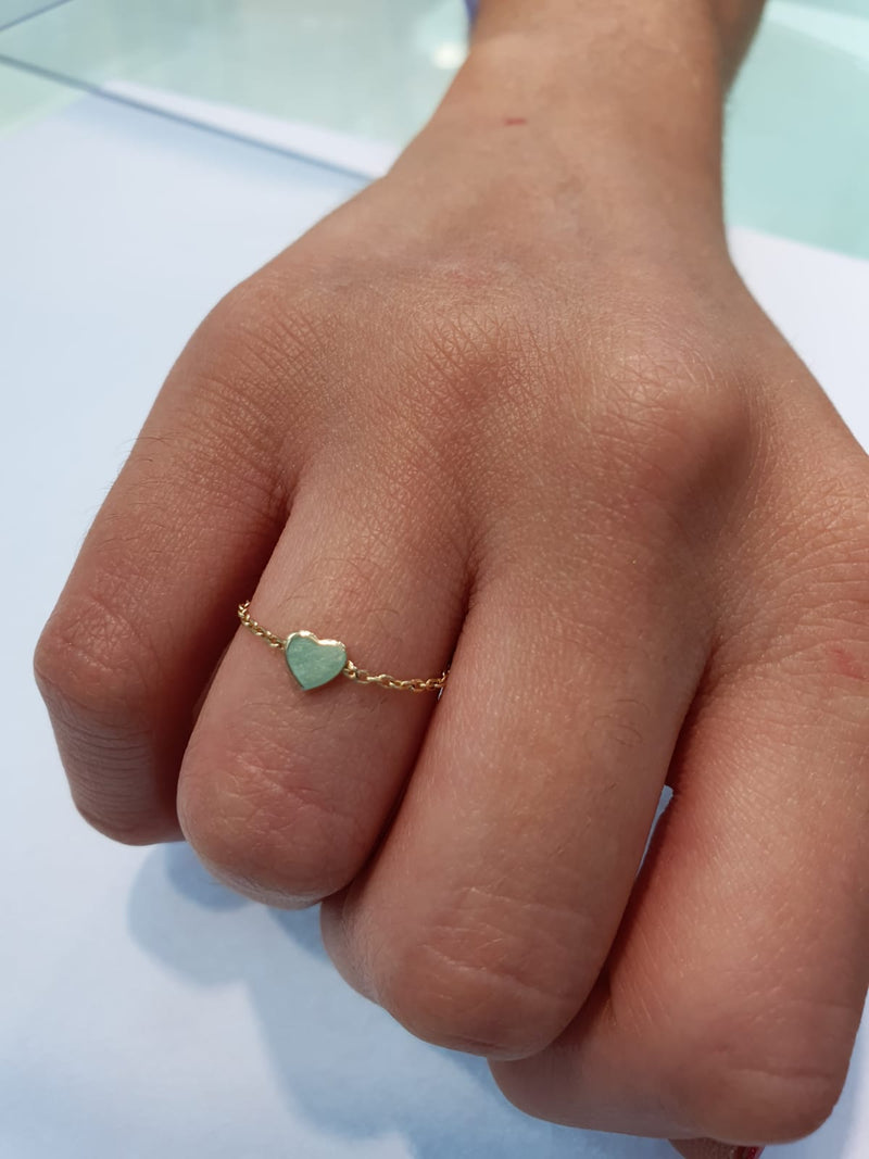 Heart Chain Ring 14K Gold