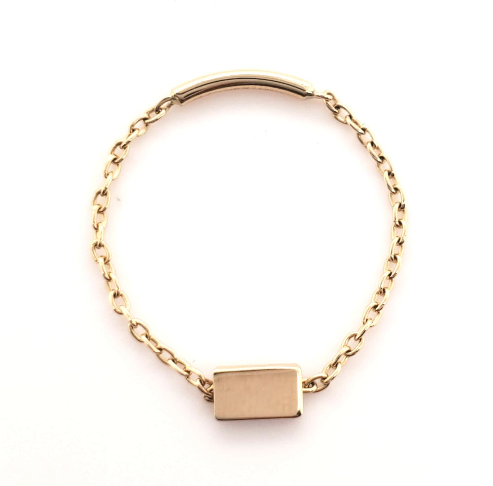 Rectangle Chain Ring 14K Gold