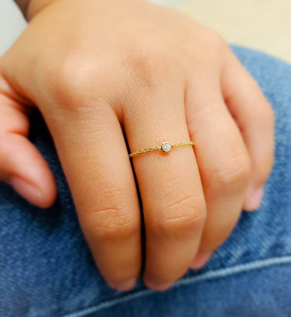 Bezel Set Mini Cubic Zirconia Chain Ring 14K Yellow Gold
