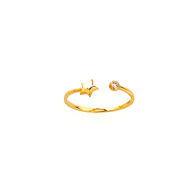 Open Star Ring with CZ 14KY Gold
