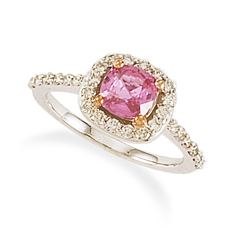 Pink Cushion Cut Sapphire on Diamond Setting