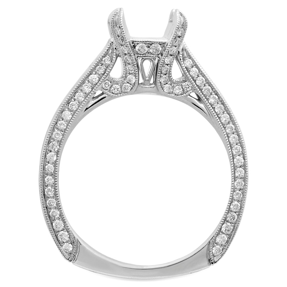 18K White Gold, European Shank Baguette Diamond Setting in 18K White Gold