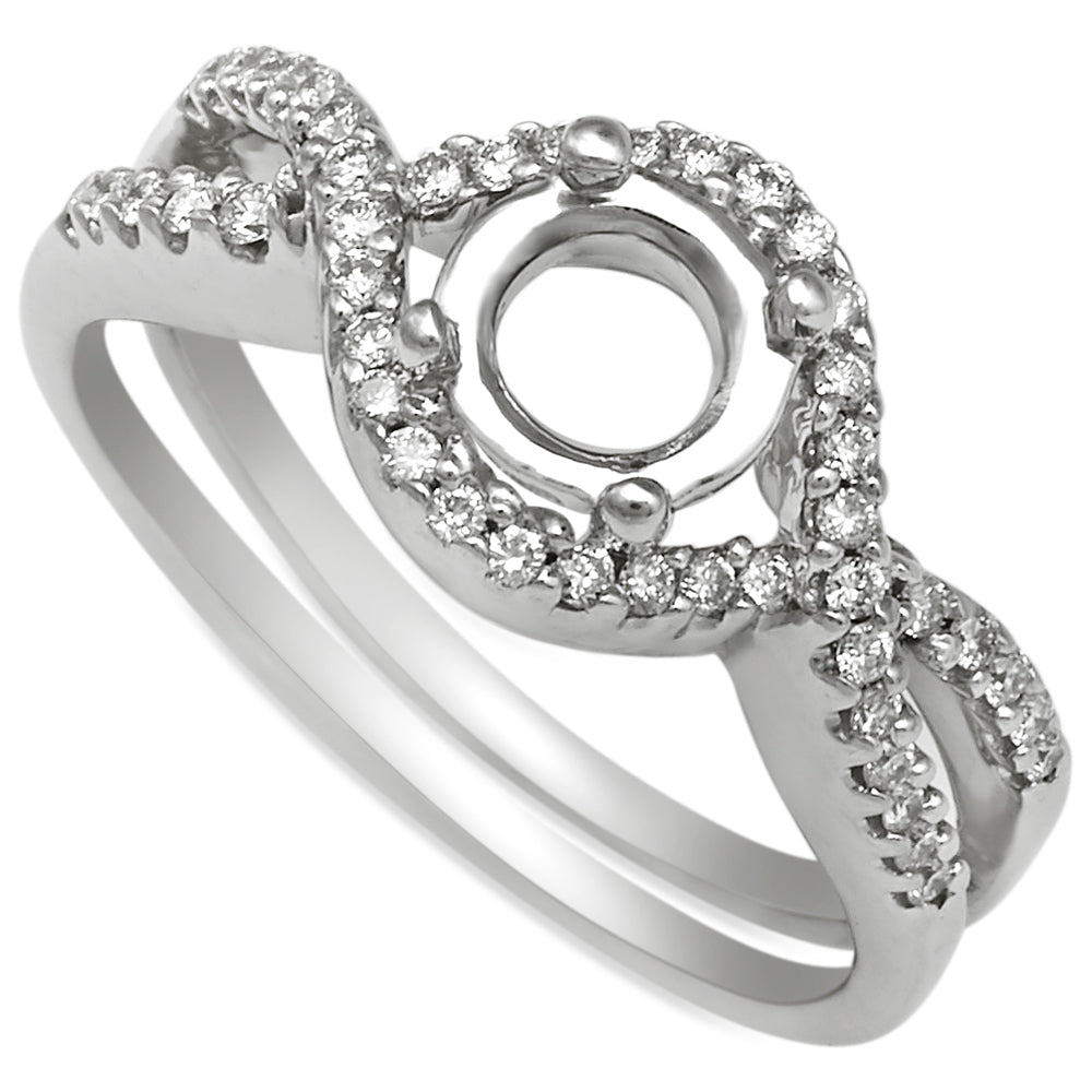 18K White Gold, Infinity Halo Split Shank French Pave Diamond Engagement Ring