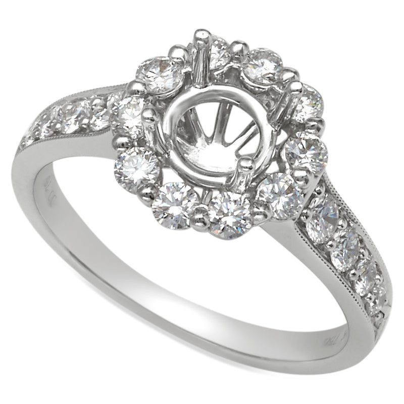 Large Diamond Halo 18K White Gold Channel Pave Engagement Ring
