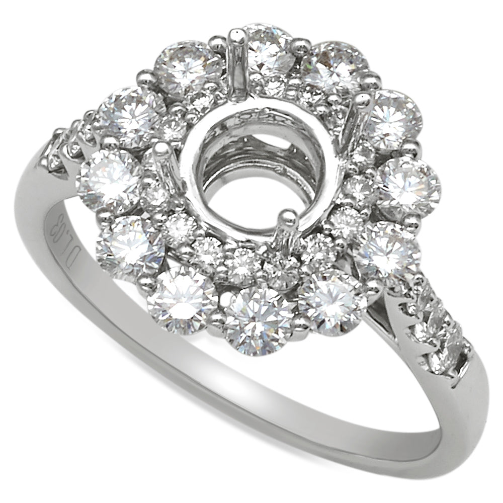 18K White Gold Double Halo with Large Diamonds Engagement Ring