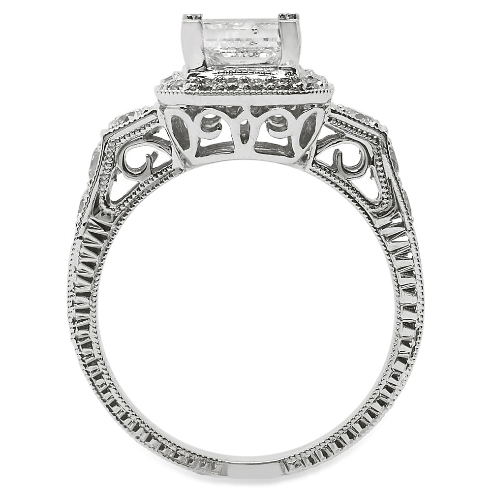 Princess Cut Diamond Vintage Style Halo Engagement Ring