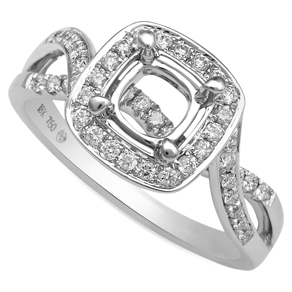18K White Gold, Cushion Halo Channel Pave, Infinity Engagement Ring