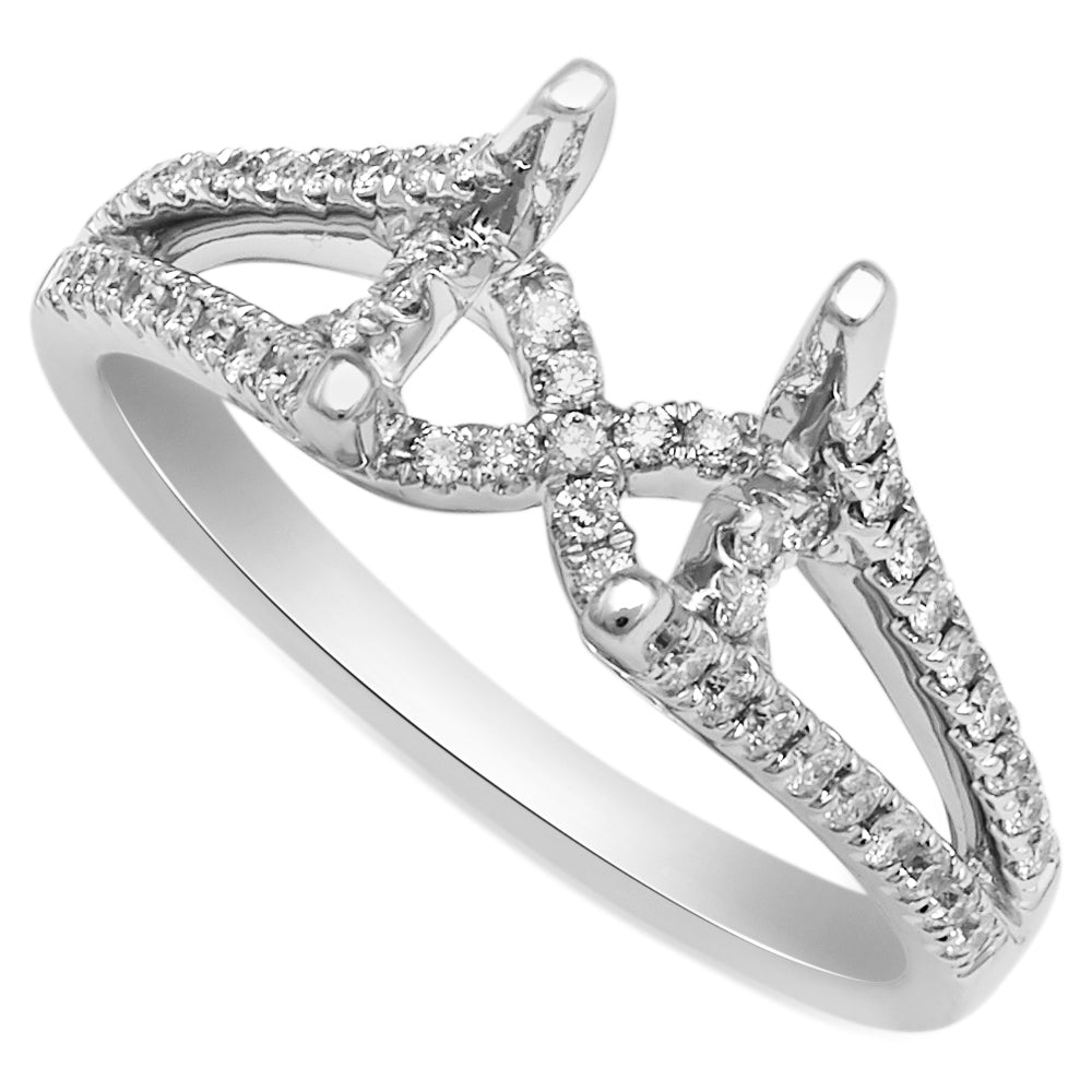 18K White Gold, Split Shank Diamond Setting with Round Diamond