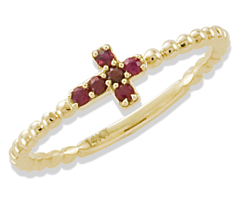 Miniature Ruby Cross Ring 14KY Gold