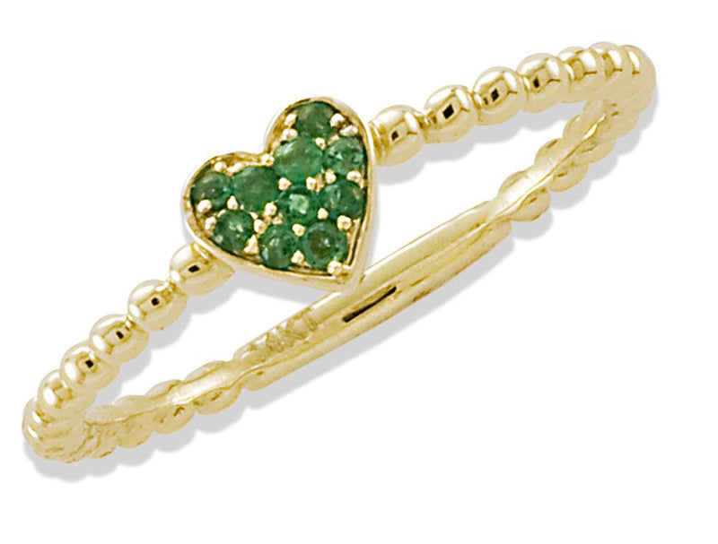 Miniature Heart Green Emerald Ring 14KY Gold